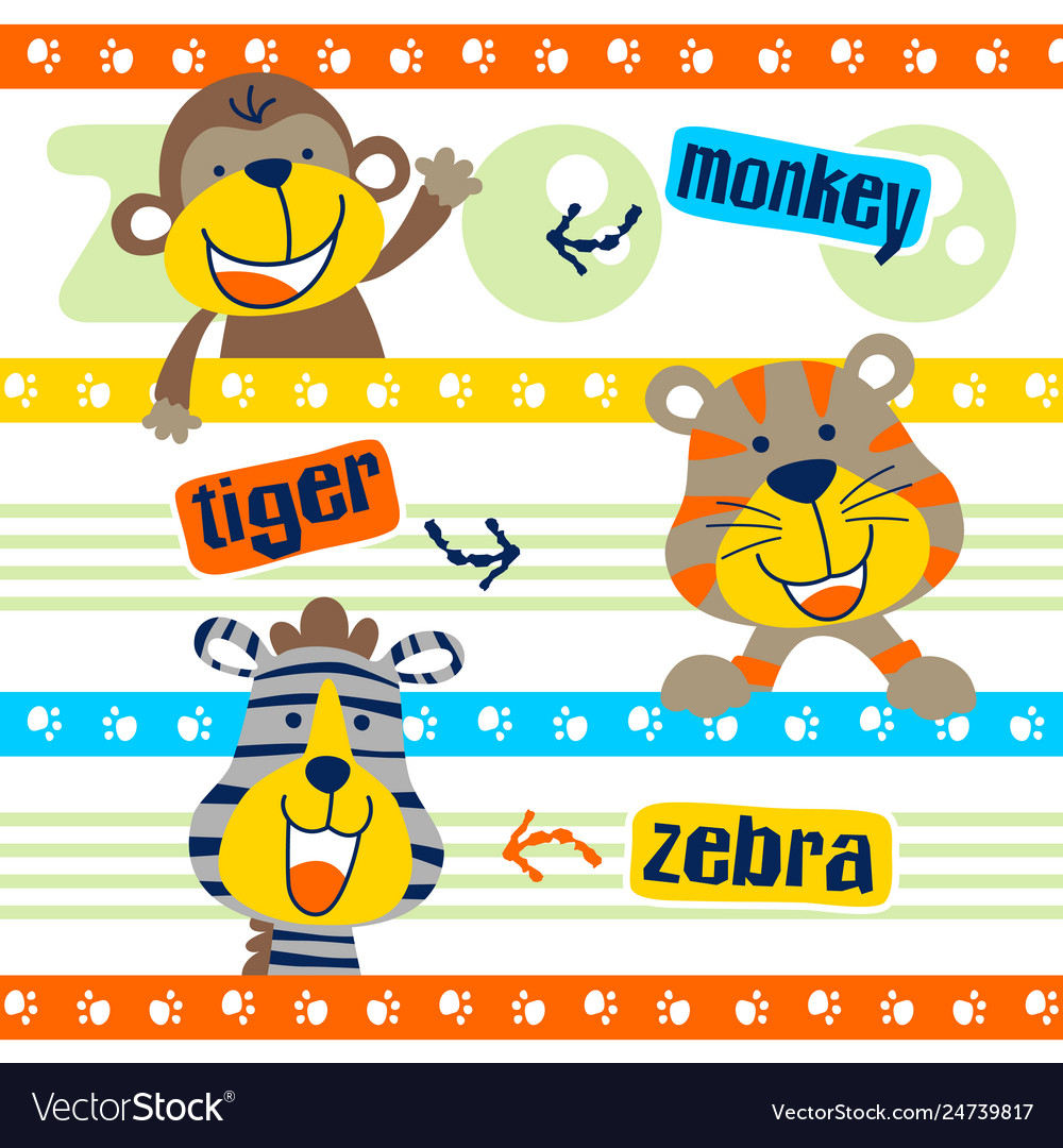 Set happy animals cartoon