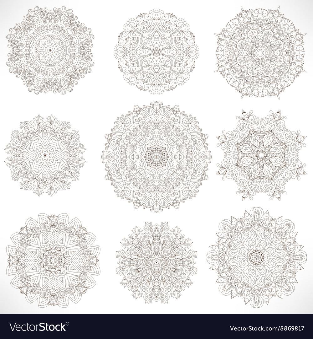 Set Mandalas Round Ornament Pattern