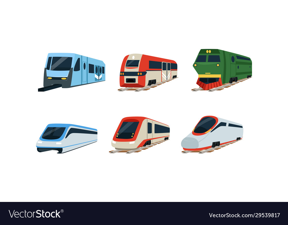 Train locomotives collection modern and retro