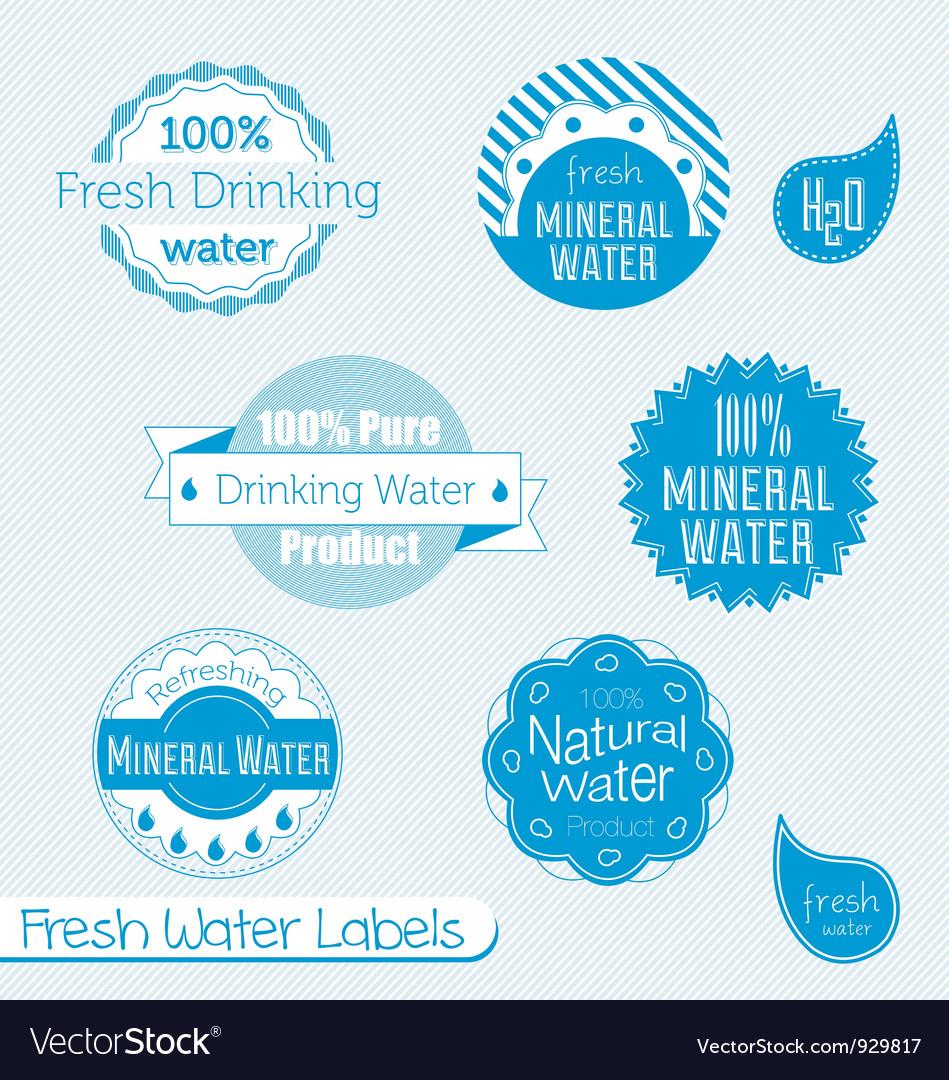 Water Labels Set vector image