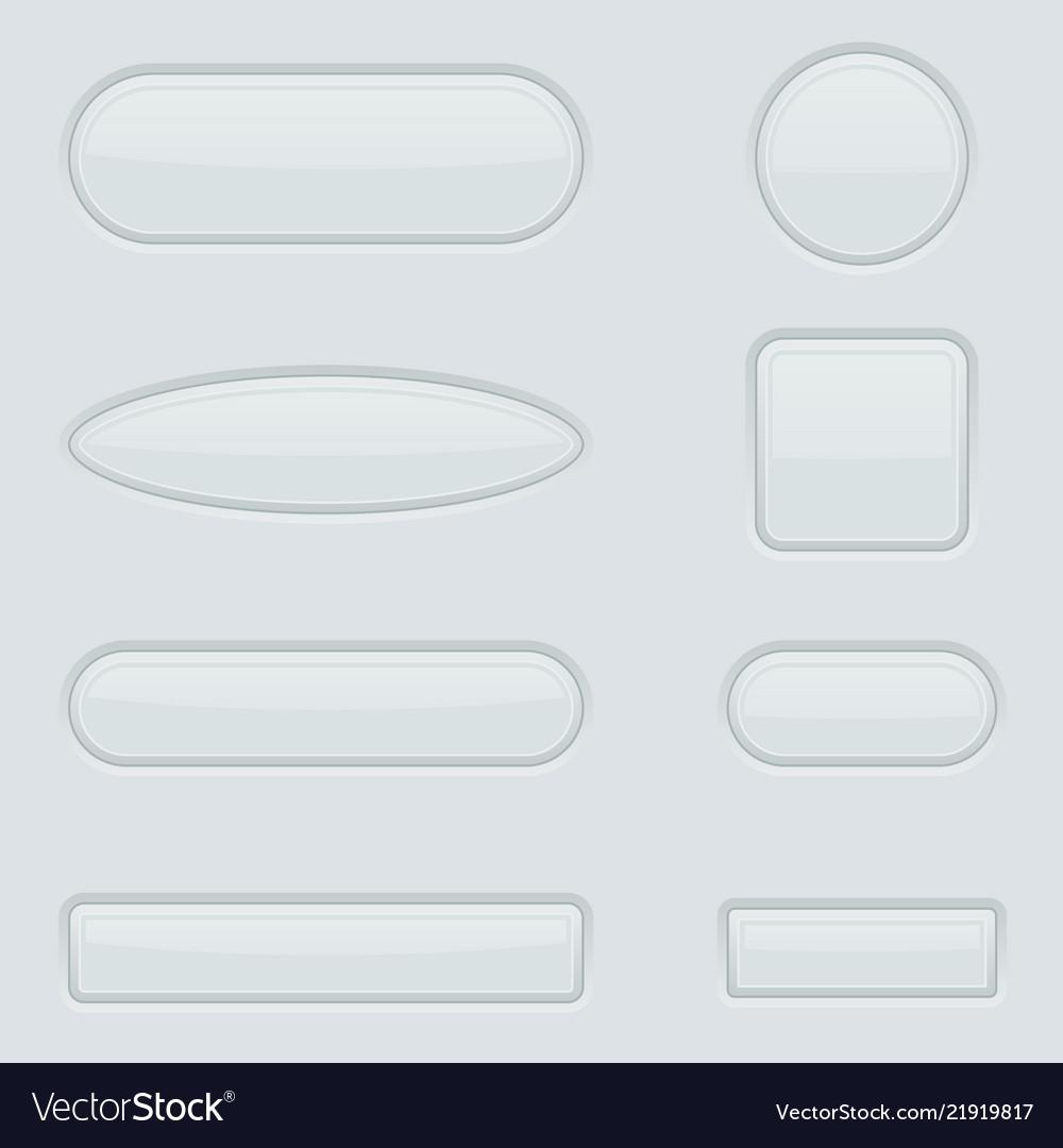 White buttons set 3d web interface elements