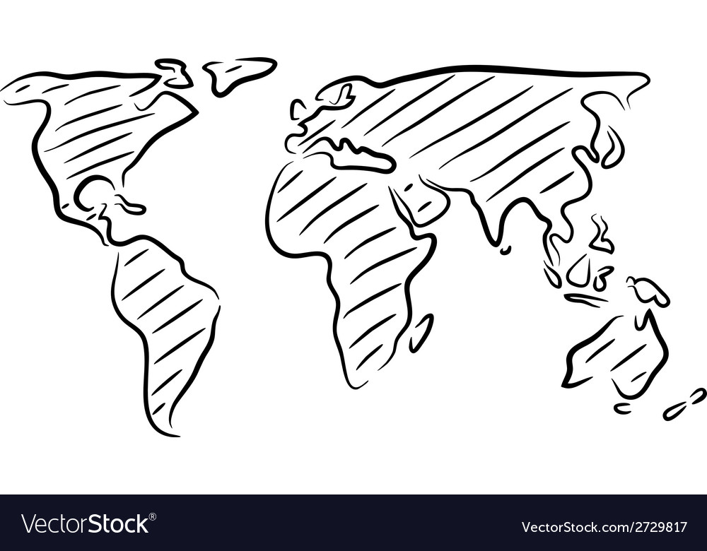 World map sketch royalty free vector image vectorstock world map sketch vector image gumiabroncs