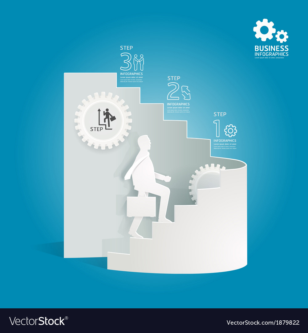 Business diagram paper cut style template vector image