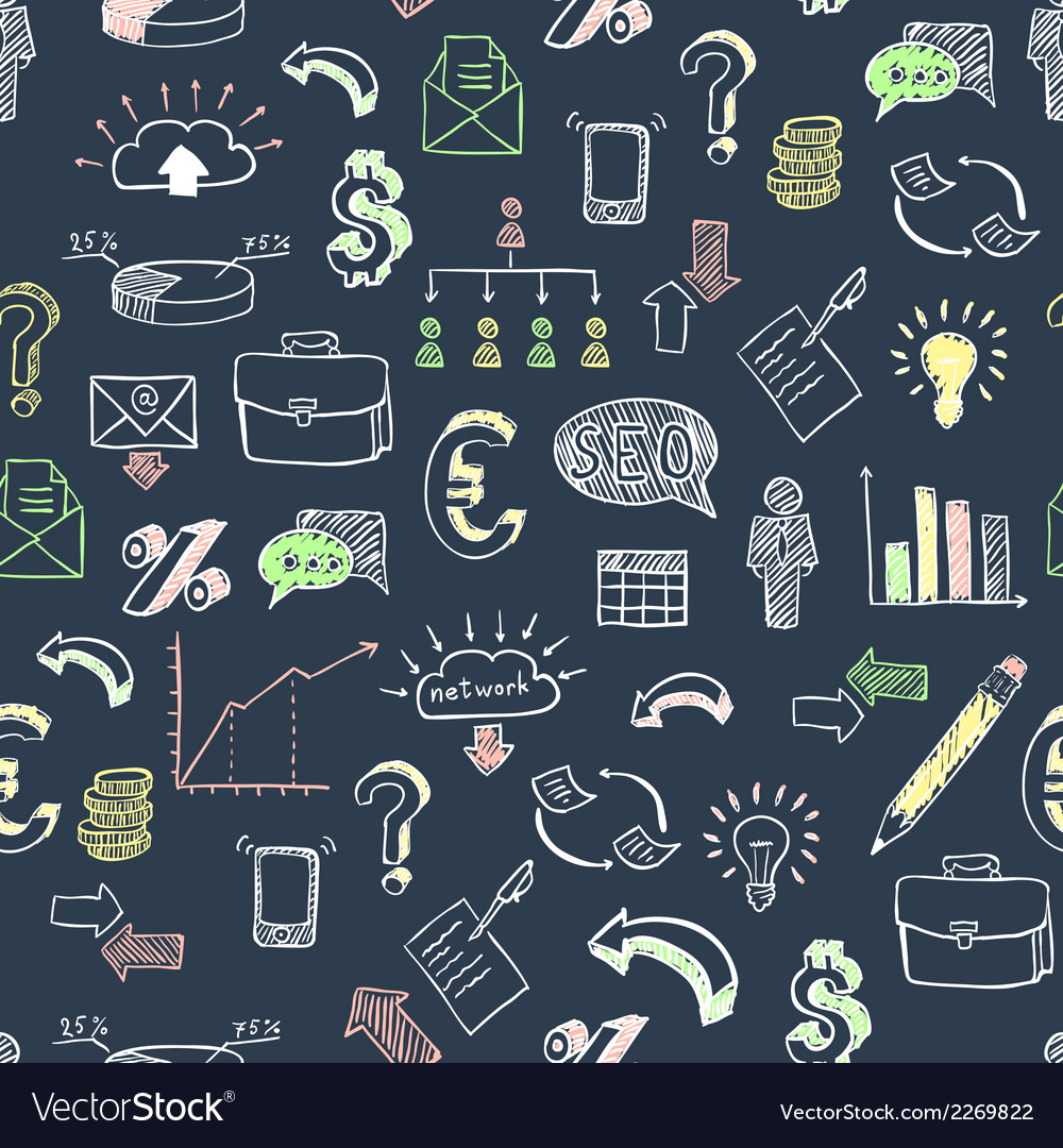 Business doodle pattern black