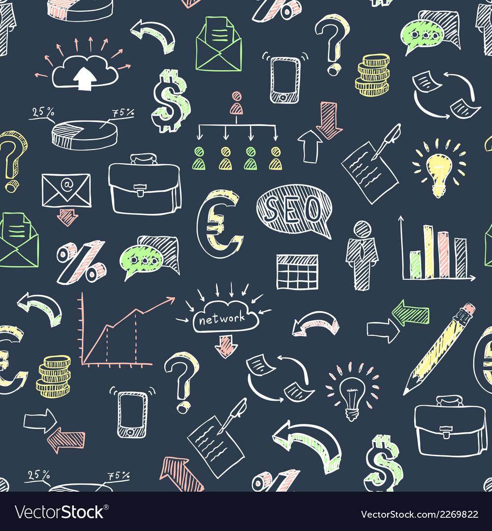 Business doodle pattern black