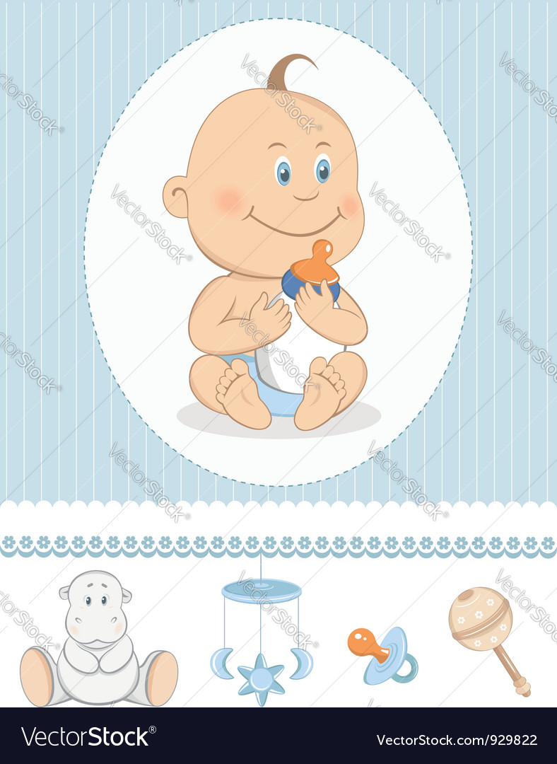 Cartoon baby boy with milk bottle