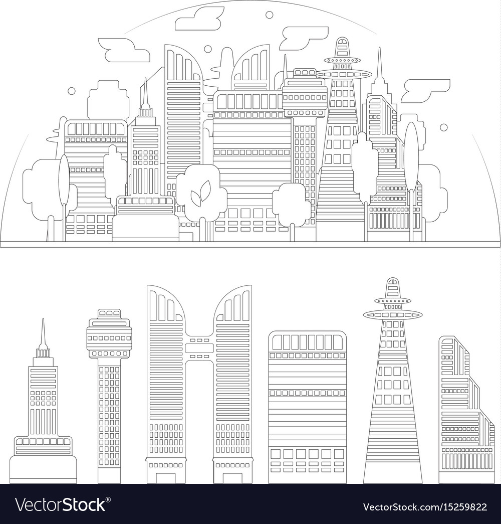 City silhouette and skyscrapers isolated