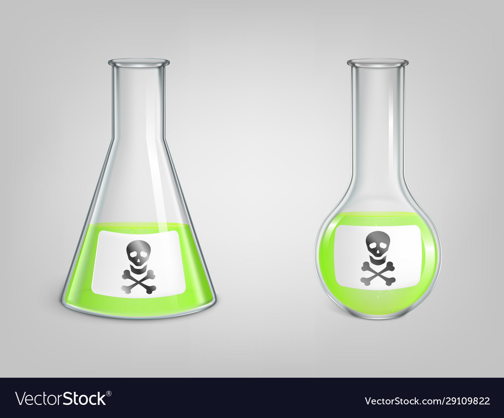 Flasks with green poison and skull with bones sign