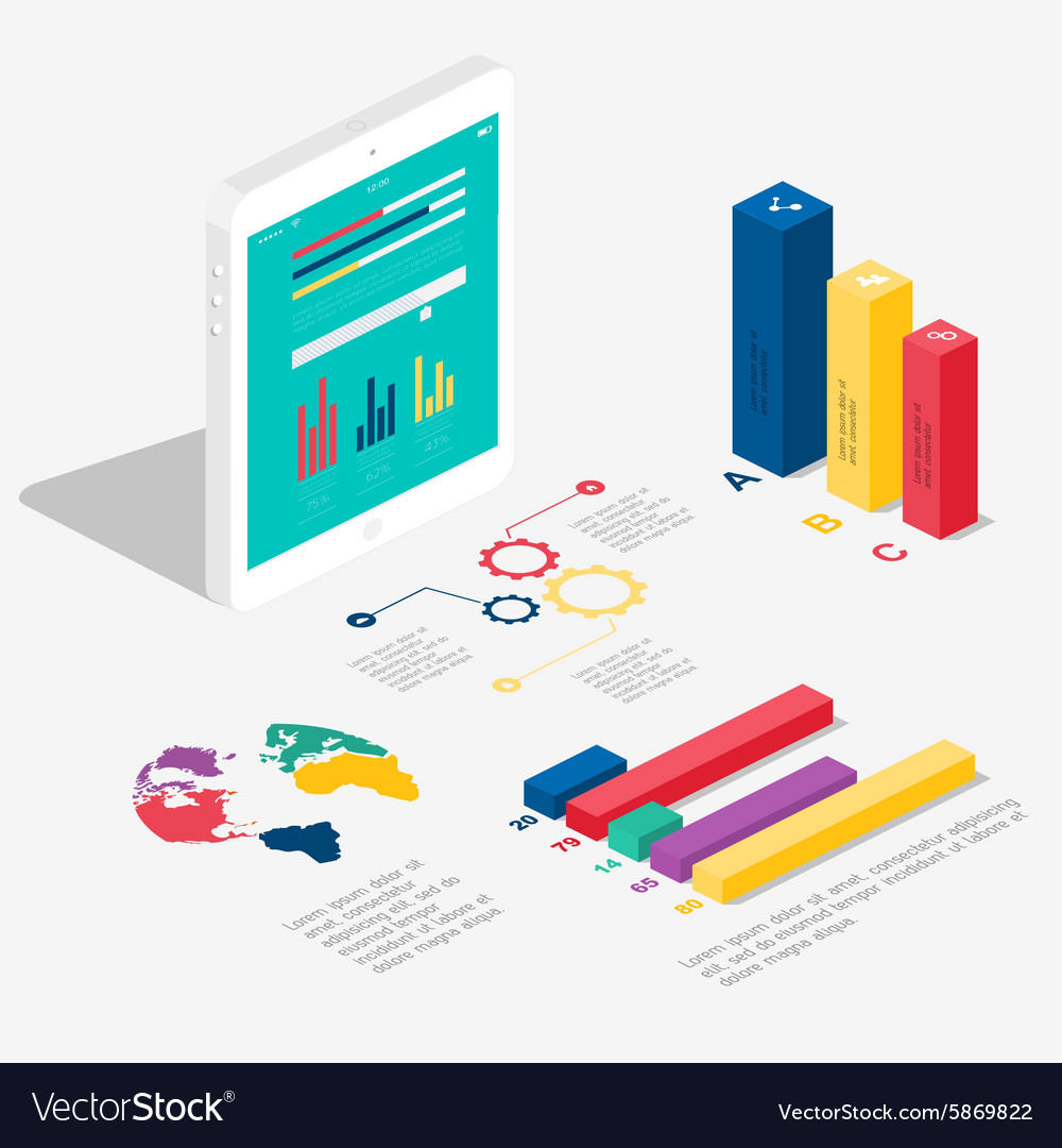 Flat 3d isometric infographic for your business