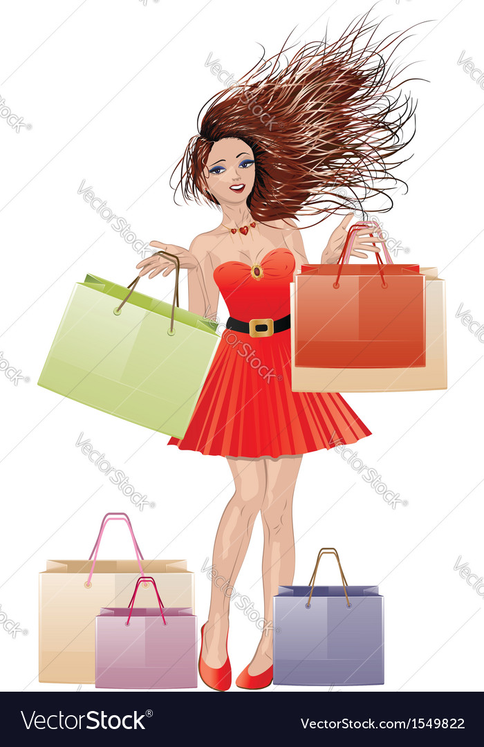 Girl in red with shopping bags