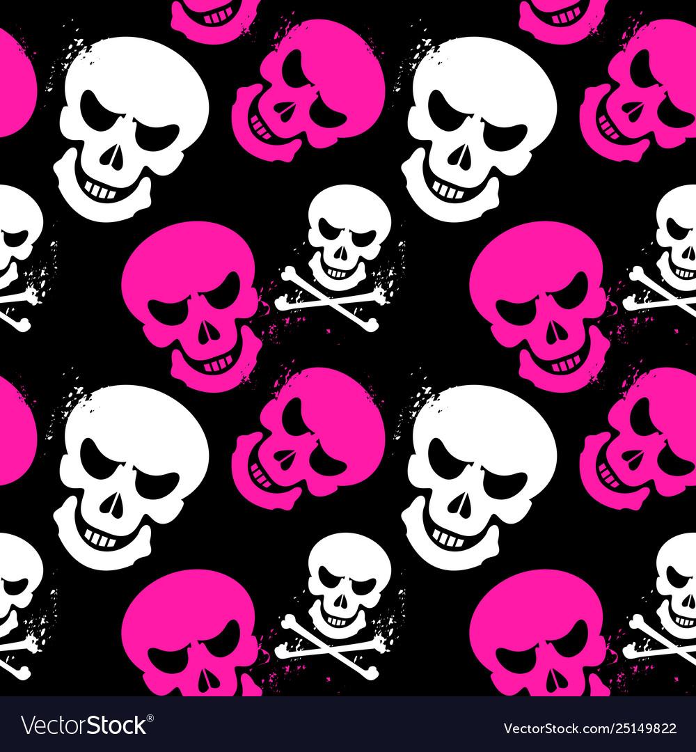 Girlish seamless pattern with skulls