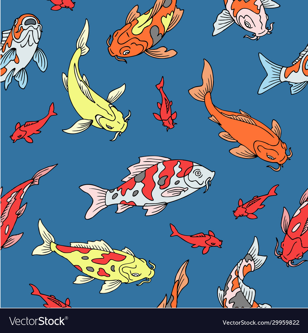 Japanese carps koi seamless pattern fishes