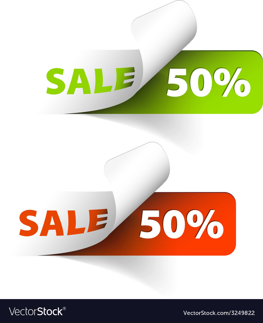 Red and green sale coupons 50 discount vector image