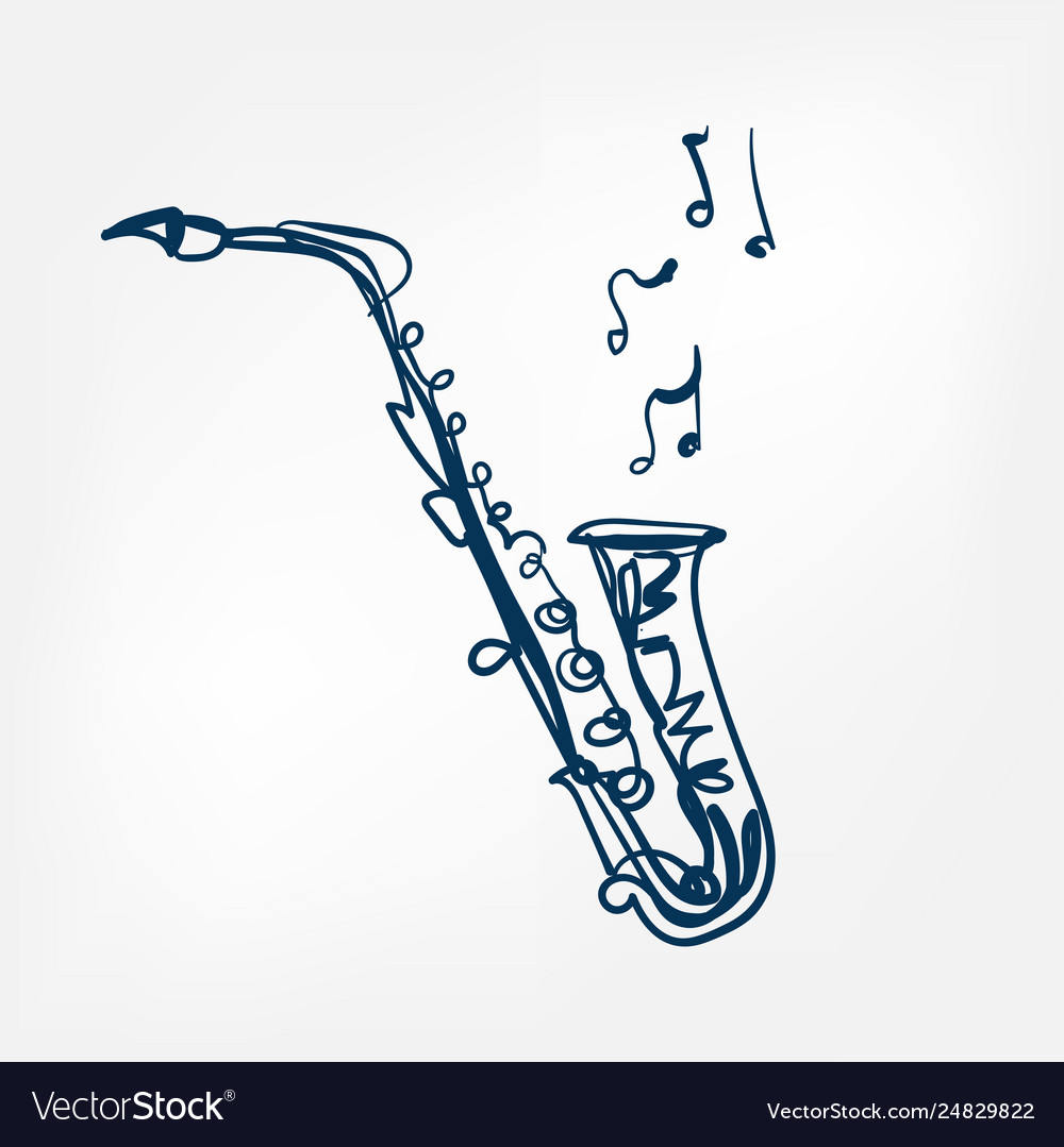 Saxophone sketch isolated design