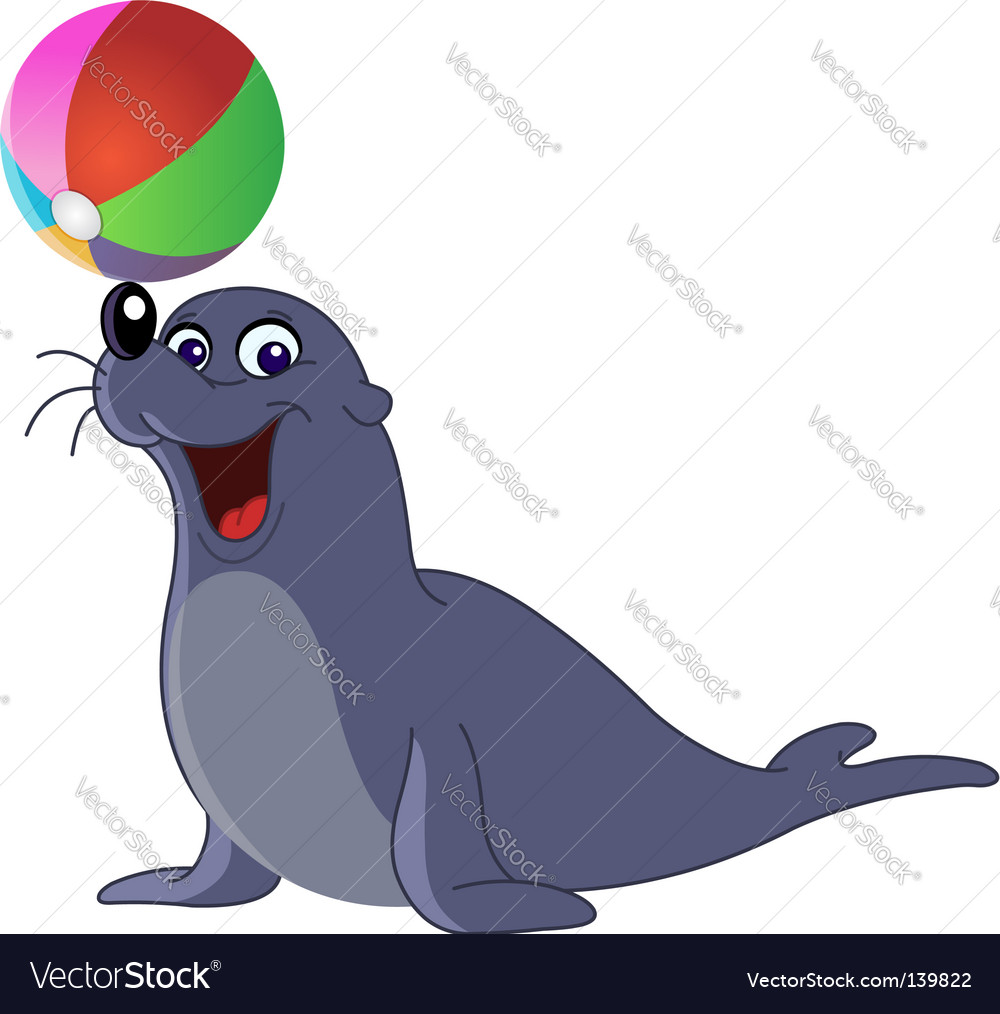 sea lion royalty free vector image vectorstock rh vectorstock com cartoon sea lion pictures cartoon sea lion pictures