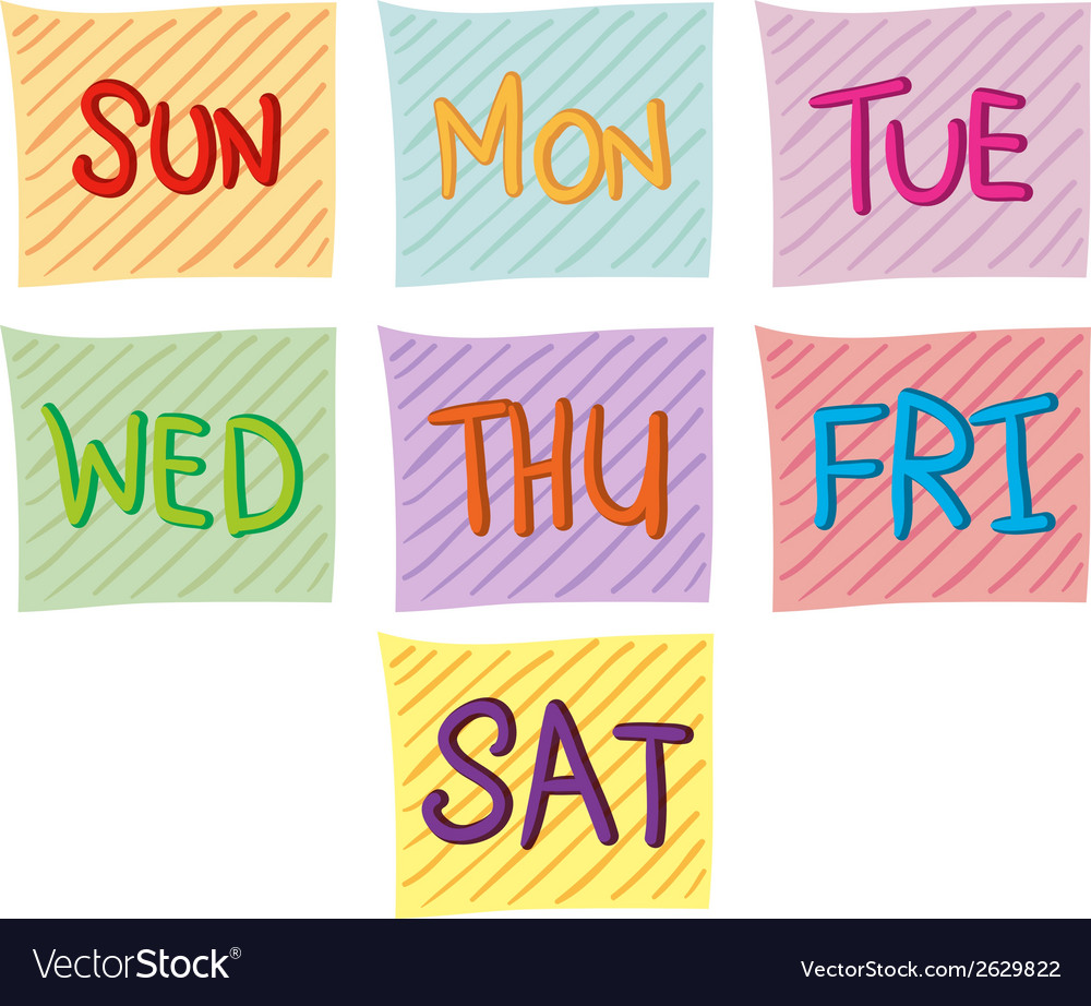 Amazing Seven Days Of The Week Vector Image