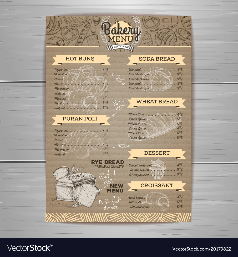 Vintage bakery menu design on cardbpard vector image