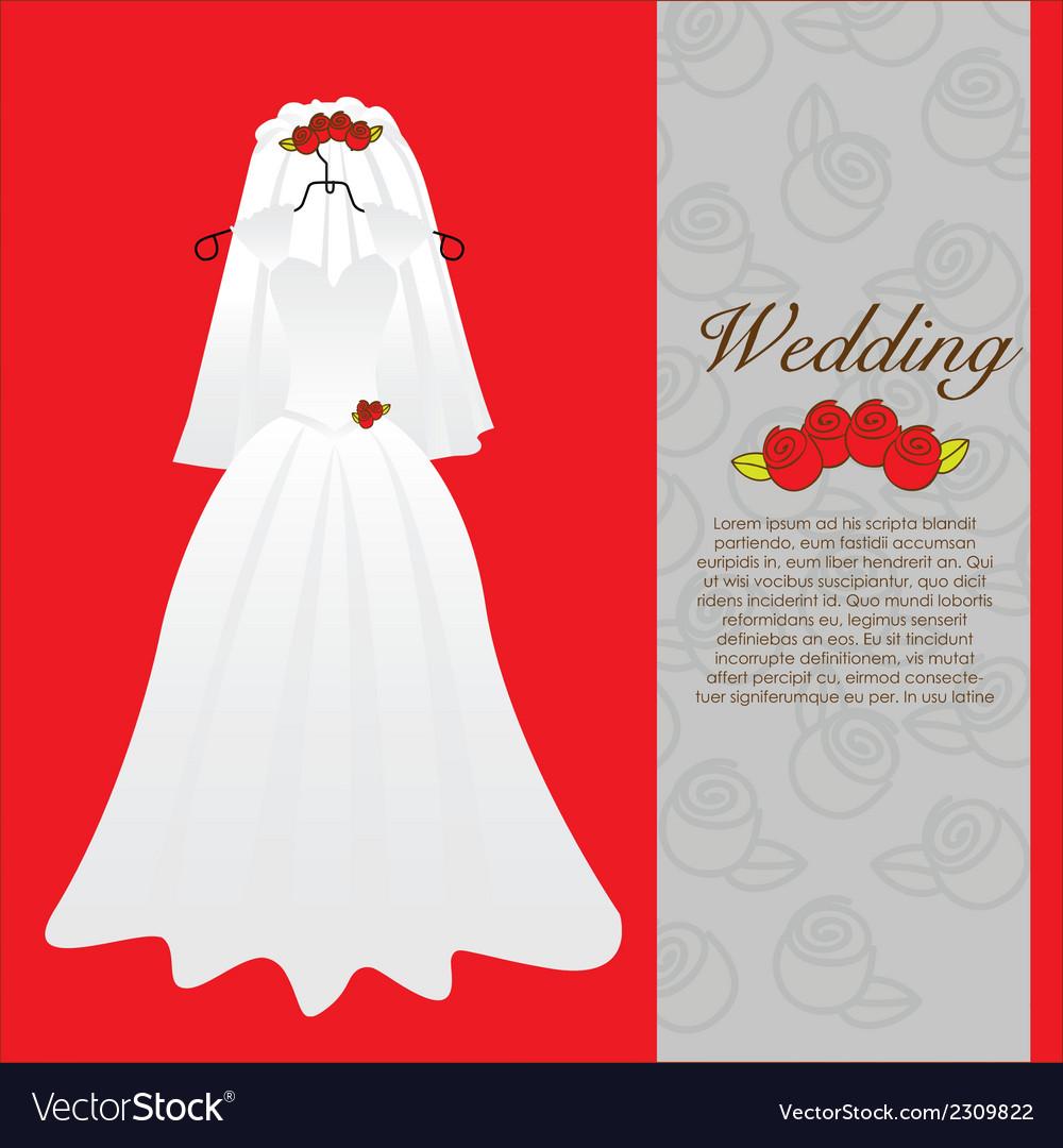 Wedding dress wedding invitation Royalty Free Vector Image