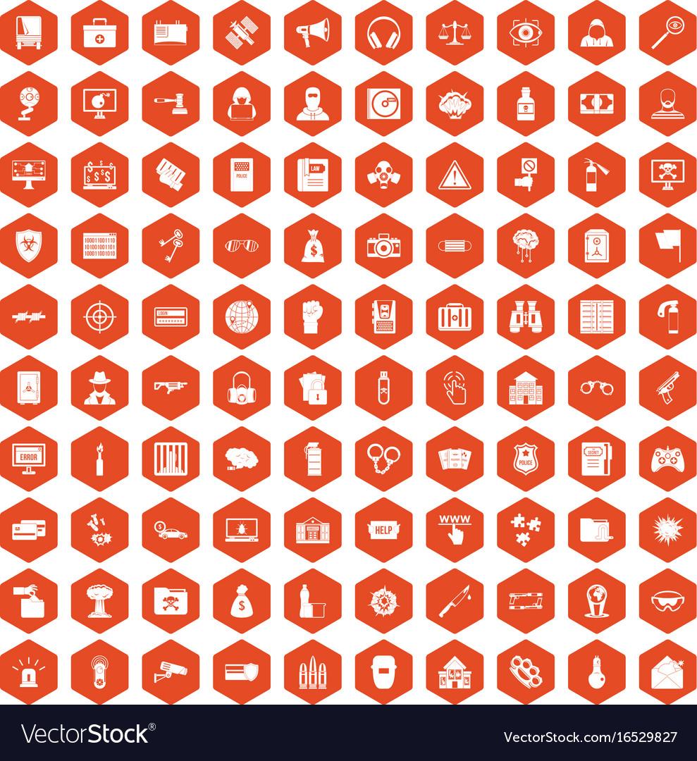 100 hacking icons hexagon orange