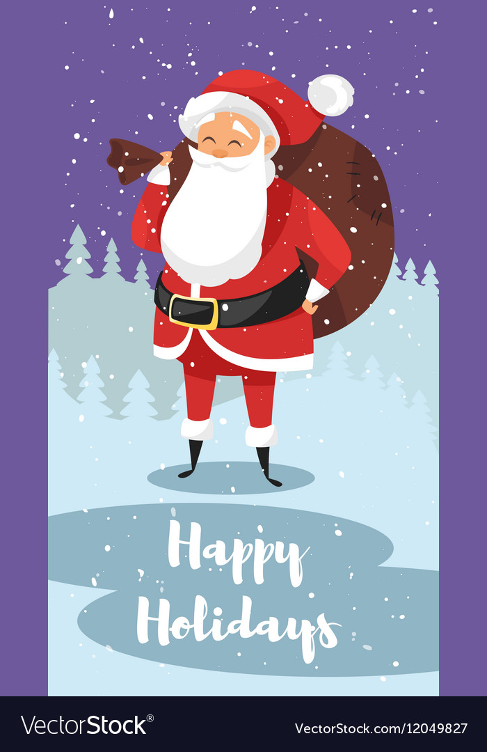 Cartoon style of Santa with bag of gifts