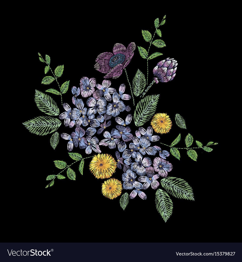 Embroidered composition with branch of lilac