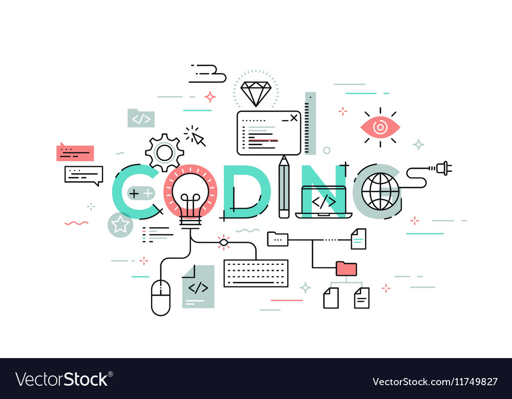 Flat Style Thin Line Banner design of coding