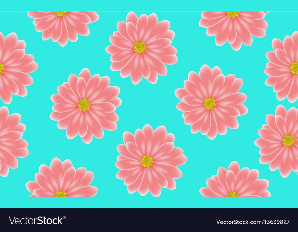 Floral pink gerbera seamless pattern on blue