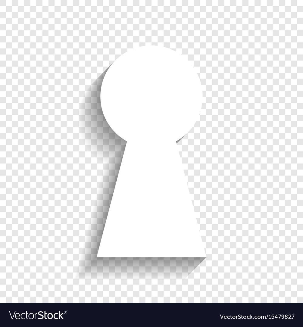 Keyhole sign white icon with