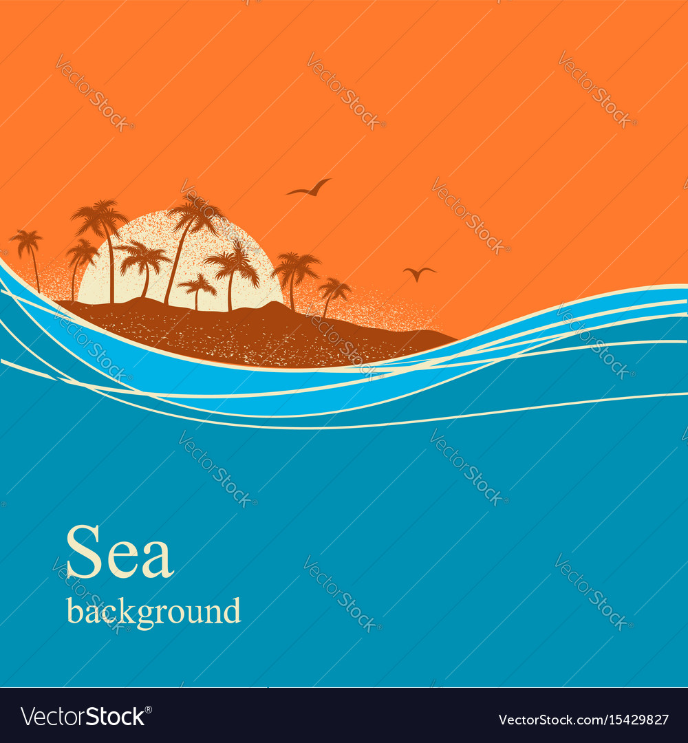 Ocean waves and tropical island background