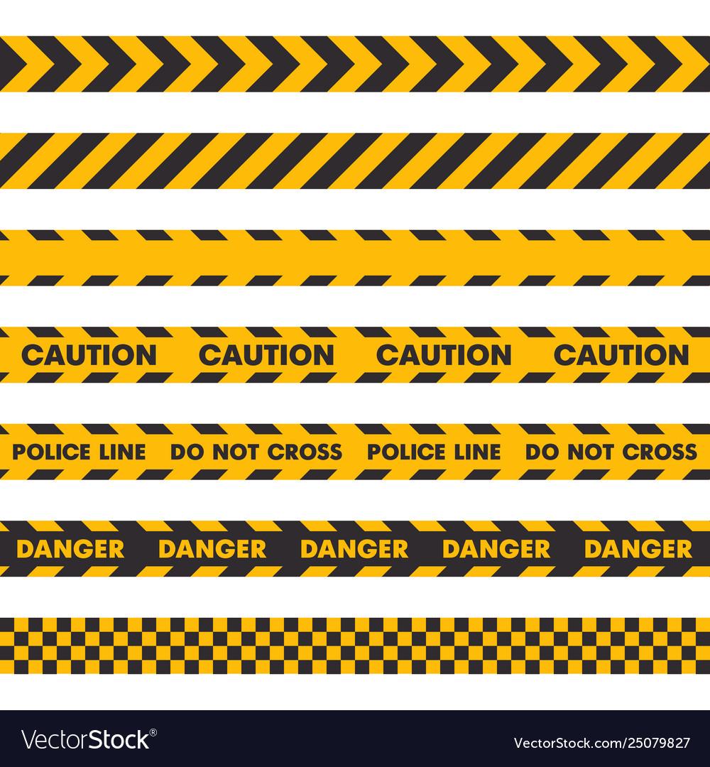 Police crime scene barrier tape seamless set on