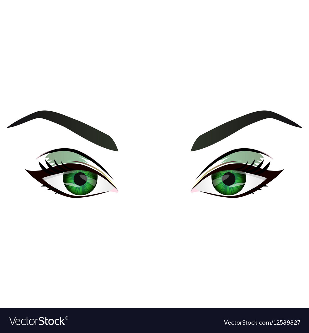 Realistic cartoon female green eyes and vector image