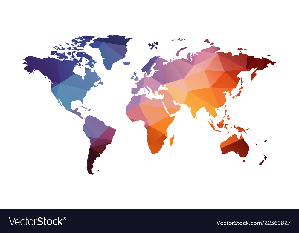Red Blue Geometric World Map Royalty Free Vector Image