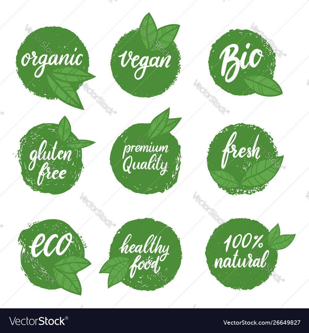 Set healthy food emblems eco organic food