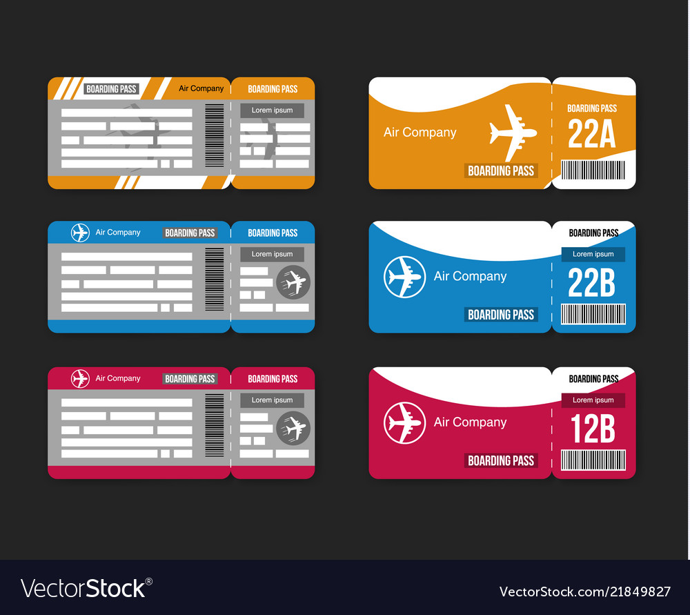 Set travel concept airplane tickets isolated