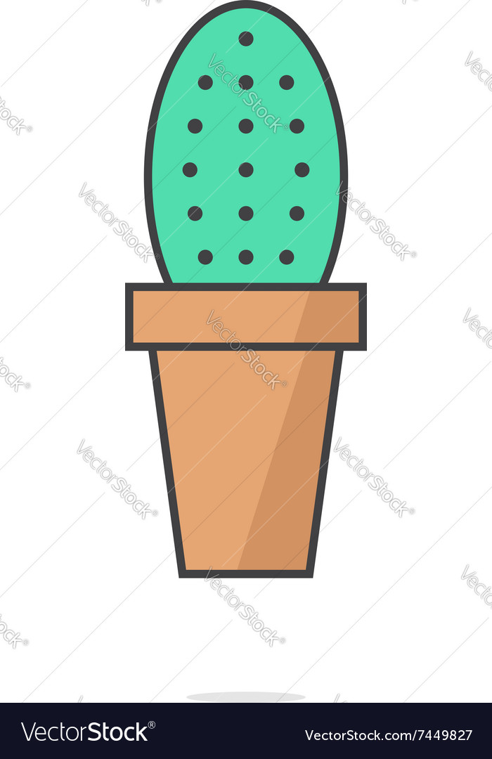 Simple cactus icon with shadow vector image