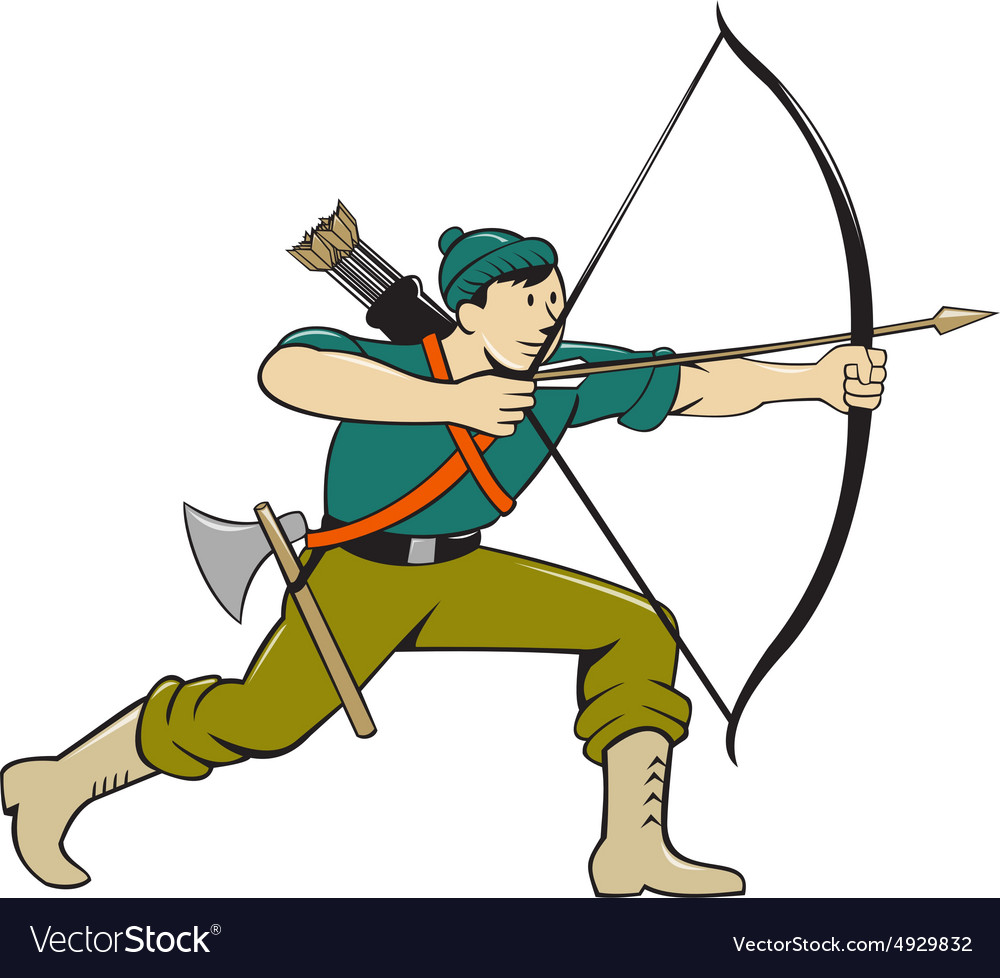 Archer Aiming Long Bow Arrow Cartoon vector image