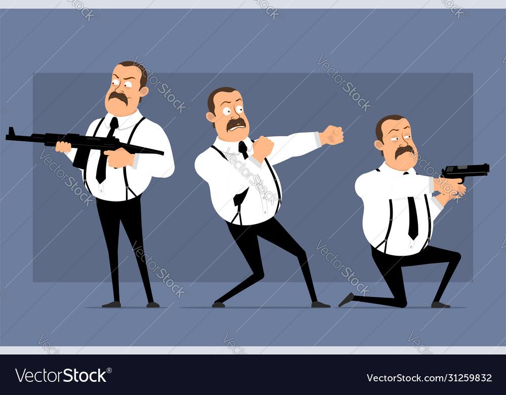 Cartoon funny fat office man character set