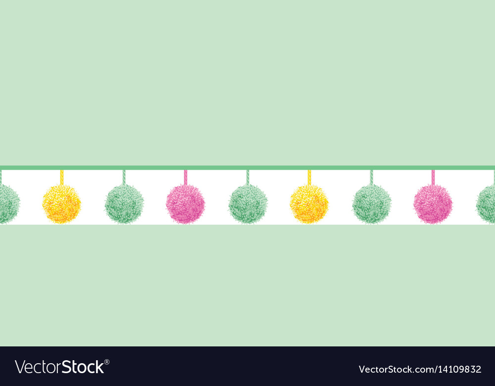 Colorful pastel baby room pompoms set on vector image