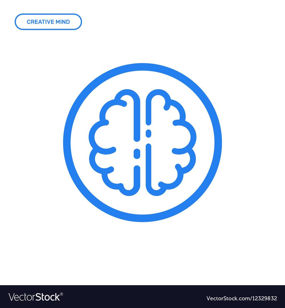 Flat line brain icon