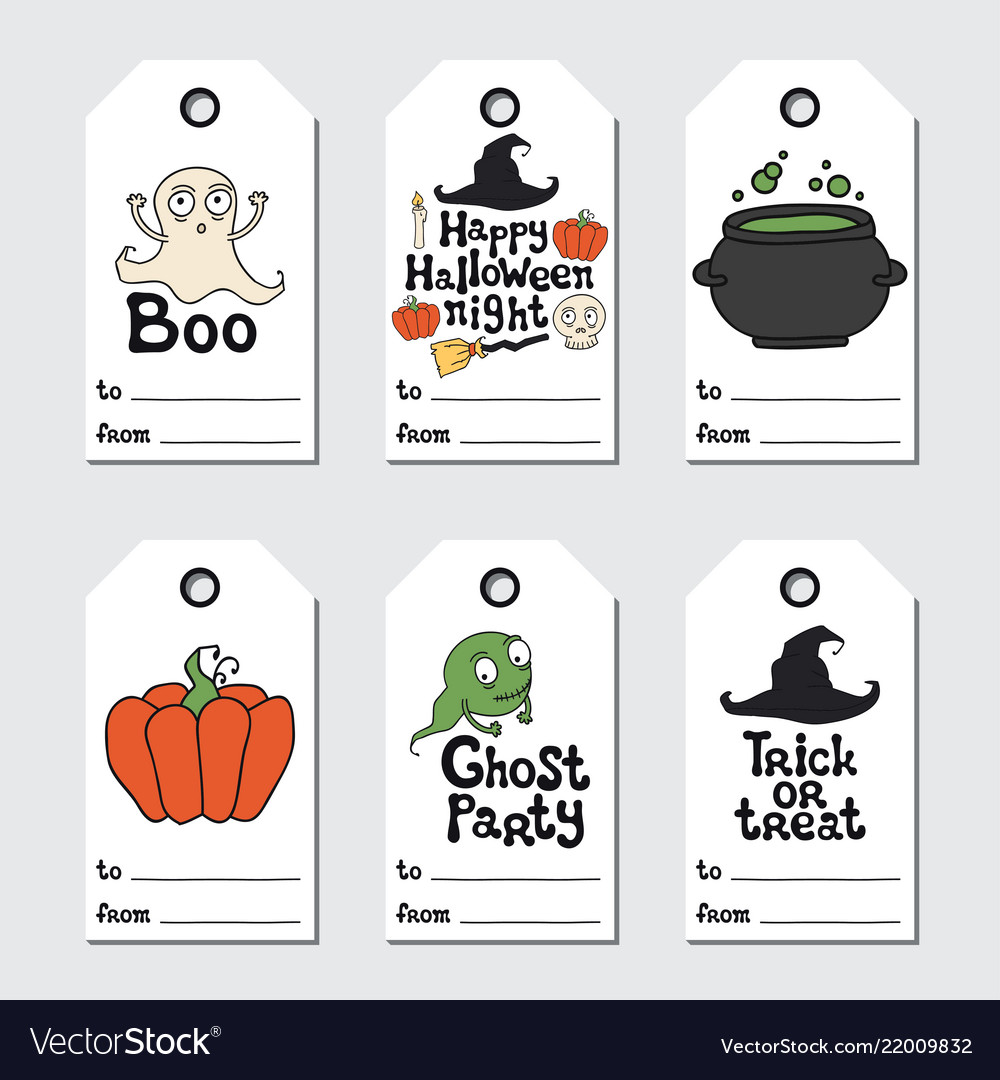 sc 1 st  VectorStock & Halloween gift tags printable tags collection Vector Image