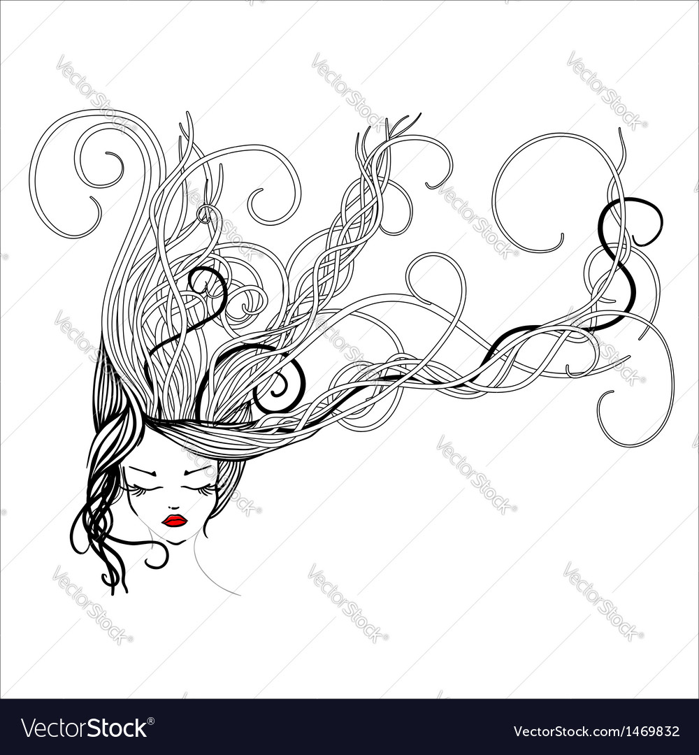 Hand-drawn woman with long flowing hair vector image