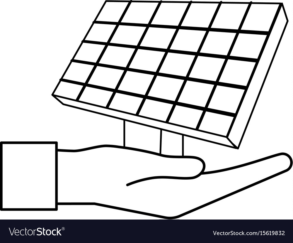 Line hand with solar energy element to reuse vector image