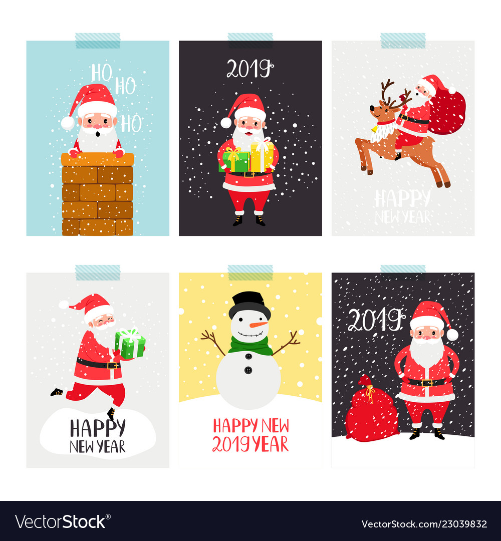Santa posters set christmas winter flyer set with