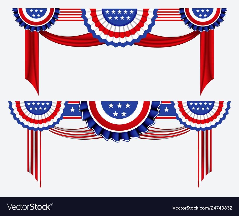 Set american flag decoration clip art