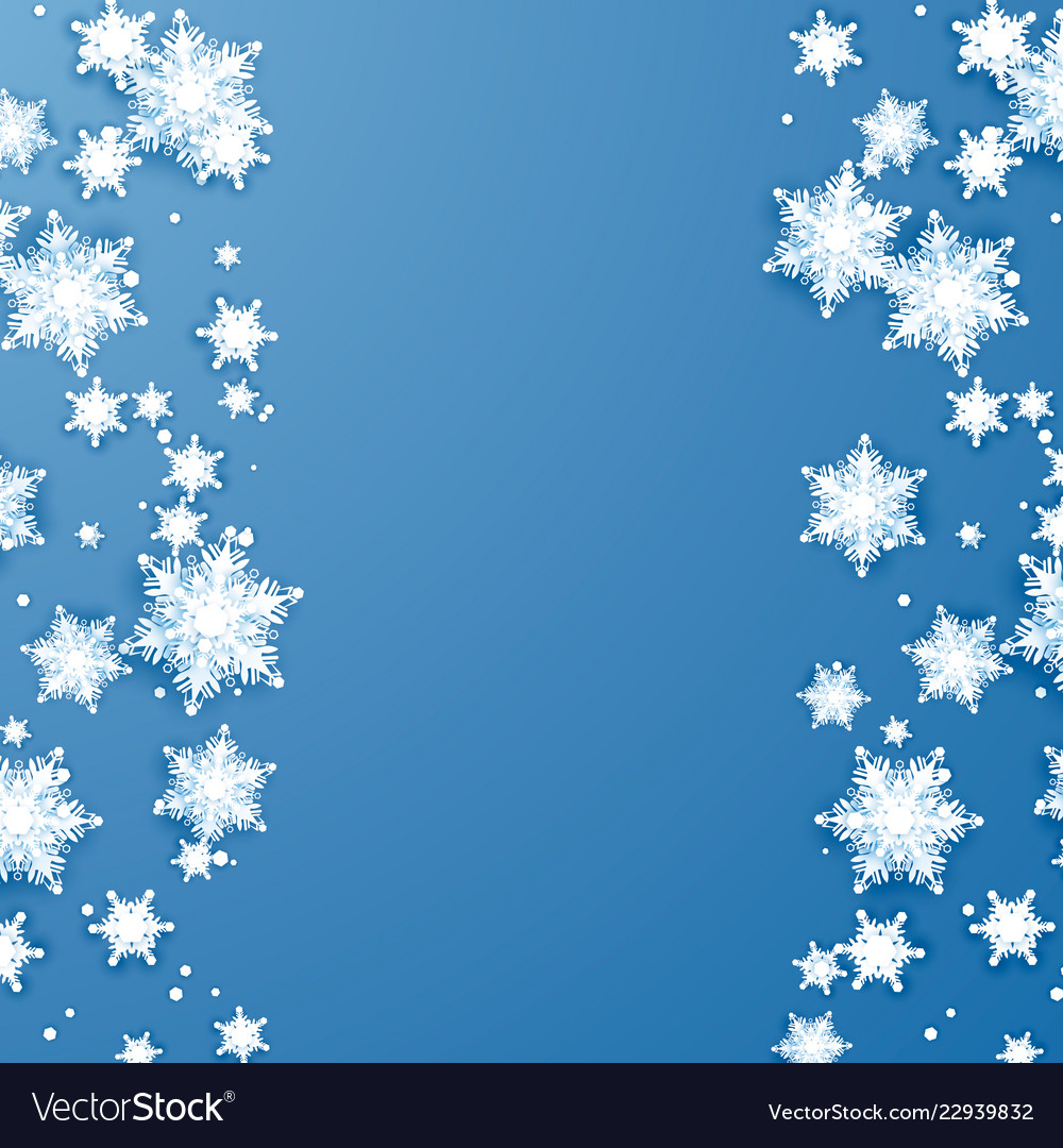 Snowflake falling at edges of paper abstract