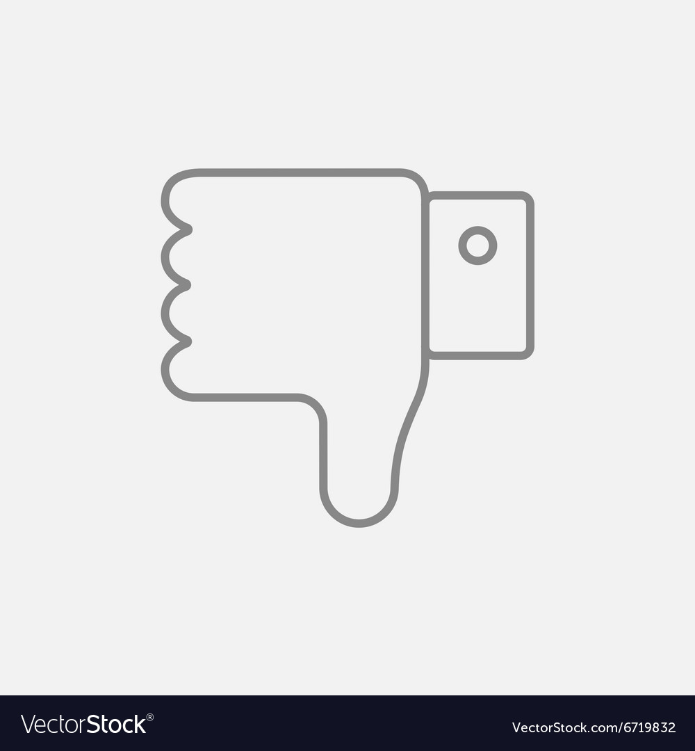 Thumb down hand sign line icon