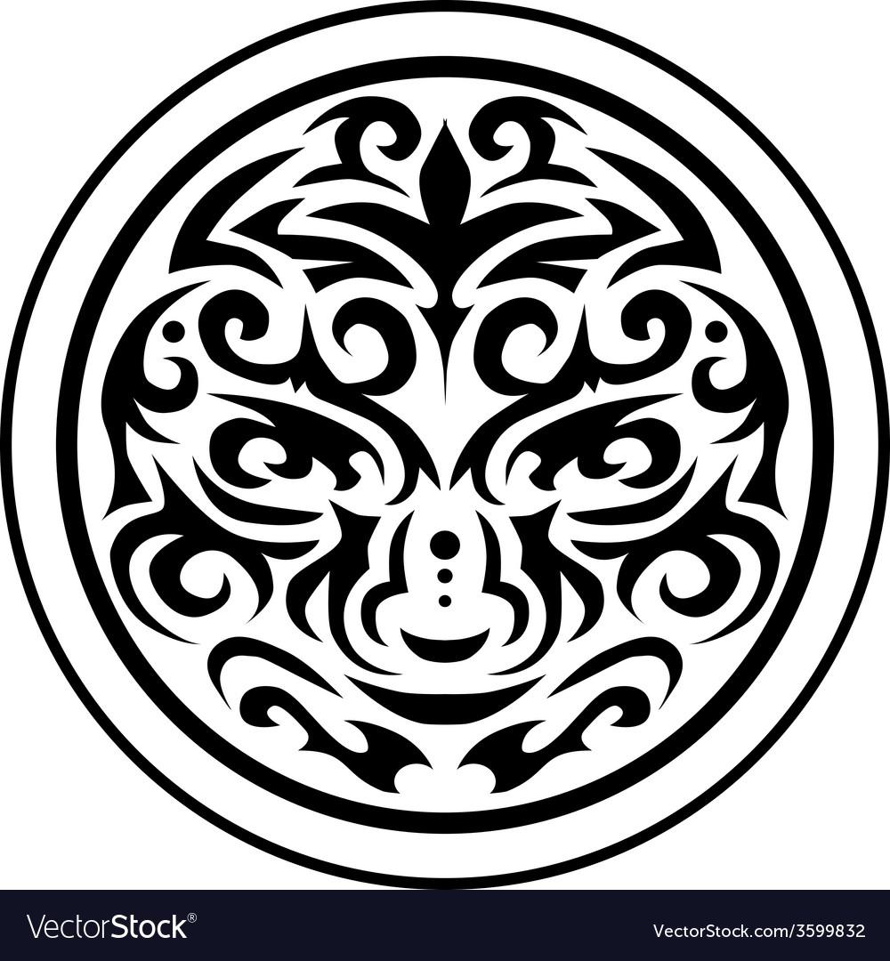 Tribal face circular emblem vector image