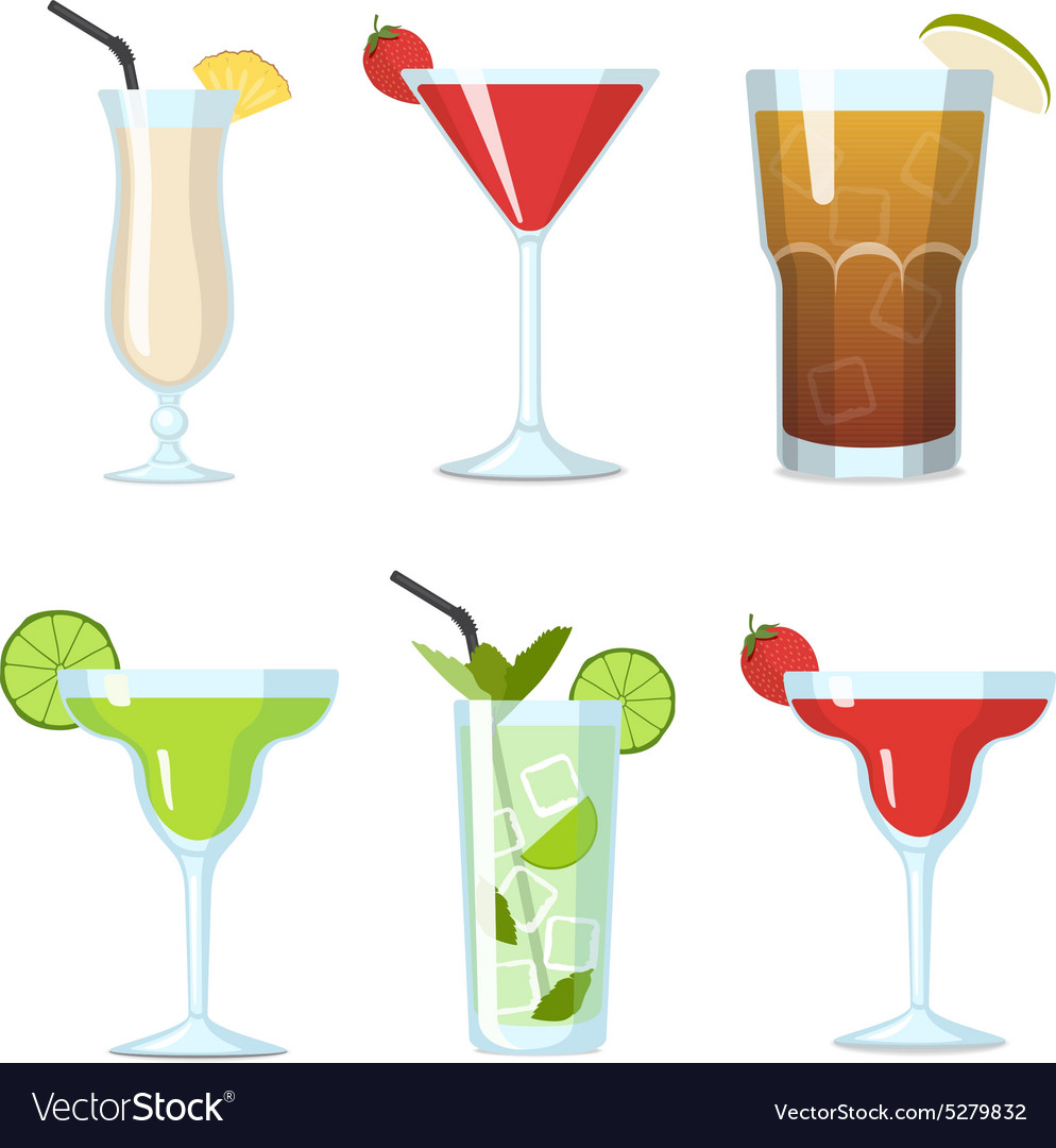 Tropical Cocktails in a Glasses set vector image