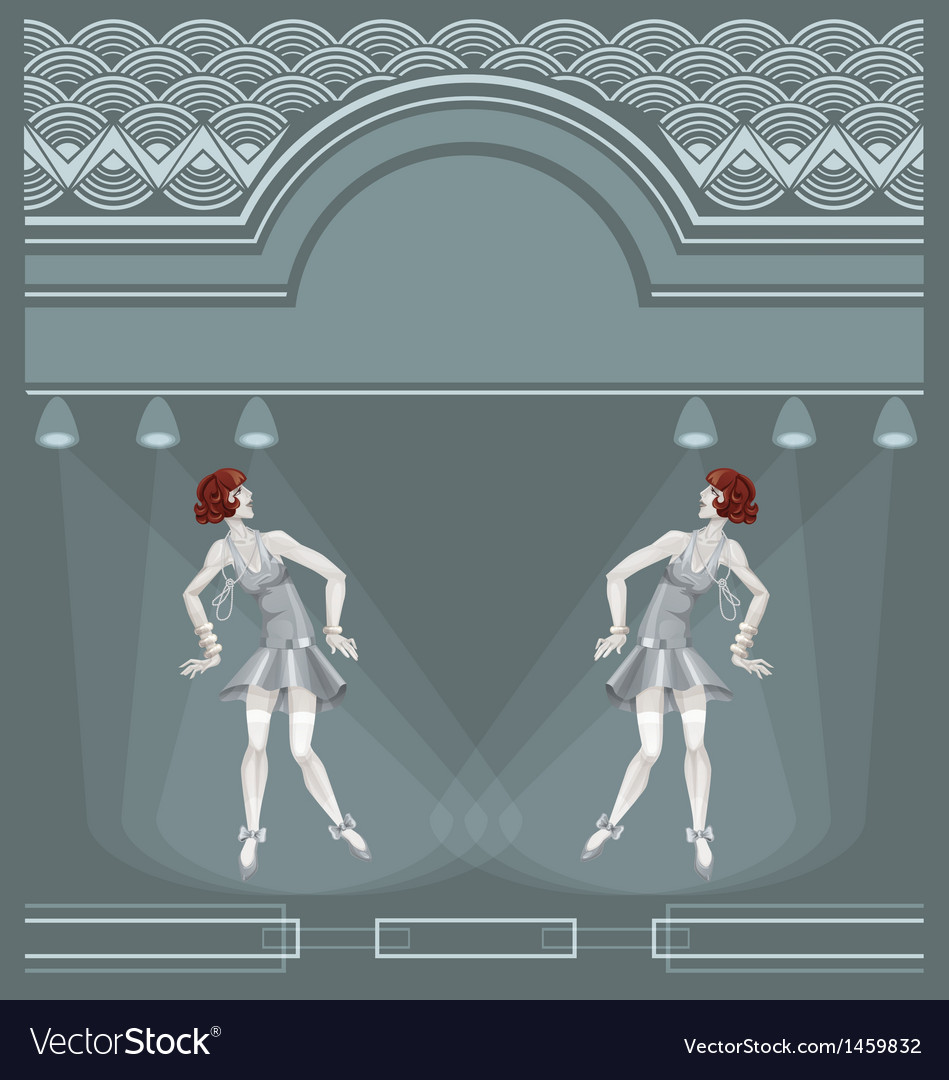 Two flapper girls on art deco background vector image