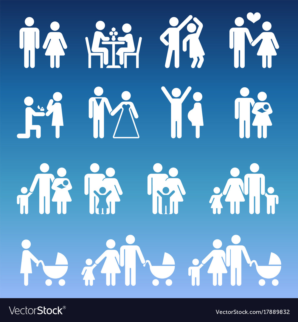 Young family life pictograms - white parents and